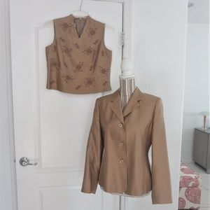 Vtg 2 Pc  Talbots Silk Blazer Top Set Embroidered